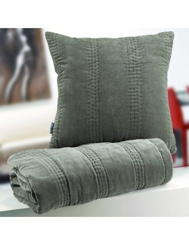Coussin Velvet Garni Gris 45 x 45 6365075401Les Ateliers du Linge