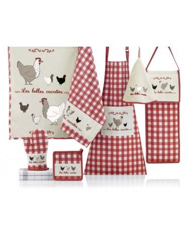 Sac à pain Les belles cocottes Rouge/Écru 26 x 70 8096030000Les Ateliers du Linge