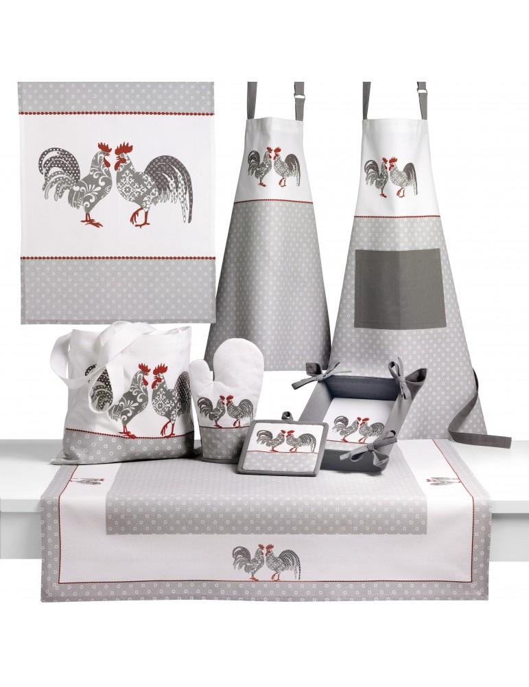 Gant de cuisine Cocorico Blanc/gris 18 x 28 4939070000Les Ateliers du Linge