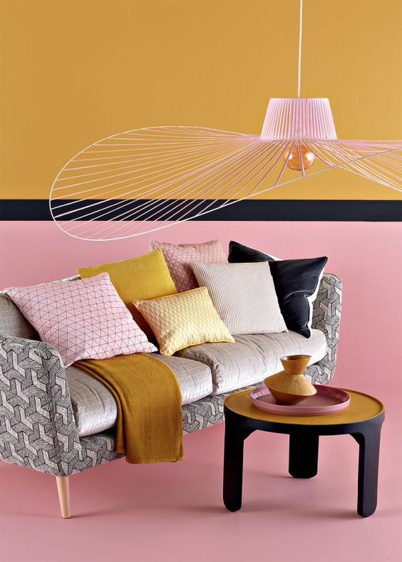 deco jaune curry et rose et gris
