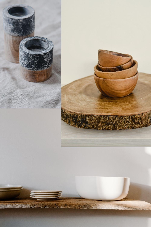 Bols et assiettes en bois et grès naturel