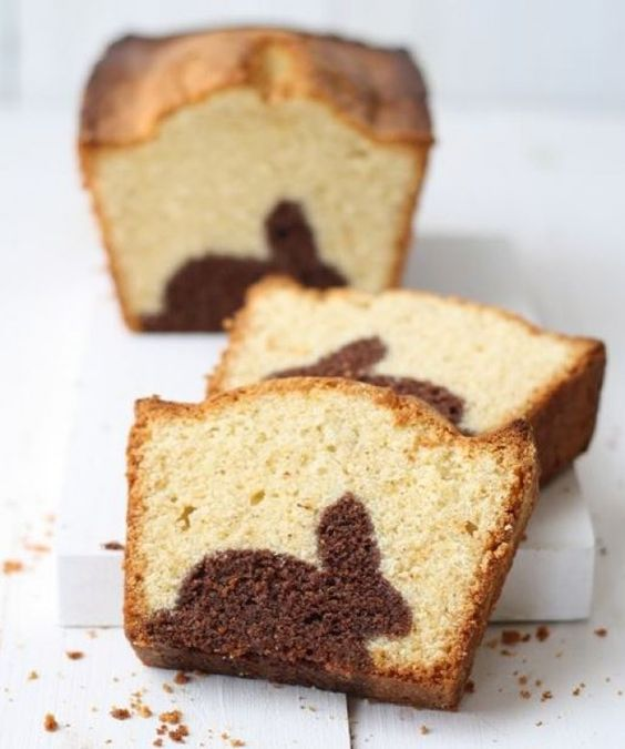 Marbré chocolat et nature lapin de pâques
