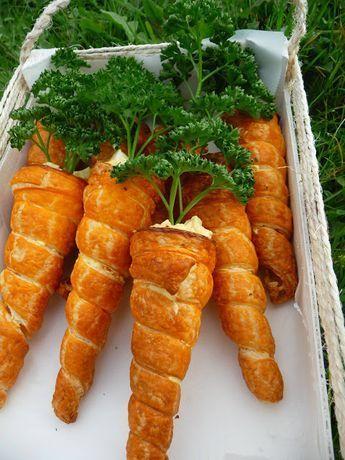 Carottes feuilletées garnies aux oeufs et surimi recette pâques