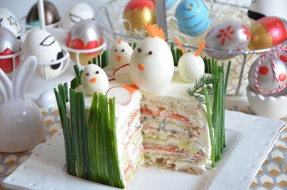Sandwich-cake au saumon fumé recette de pâques