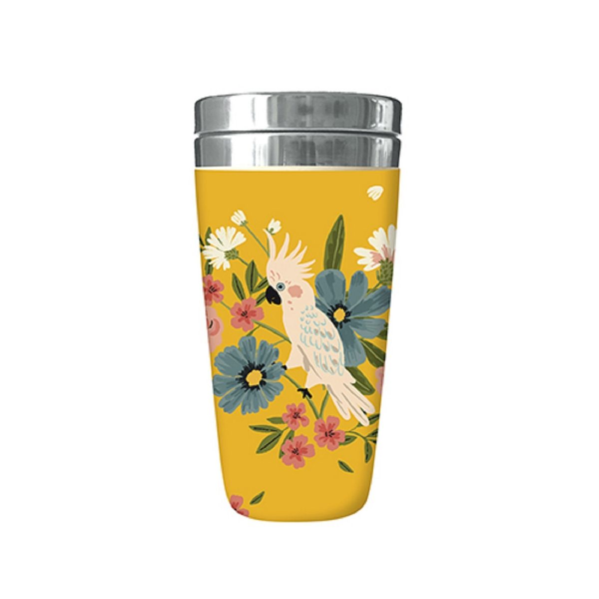 Mug isotherme en bamboo cacatoes jungle