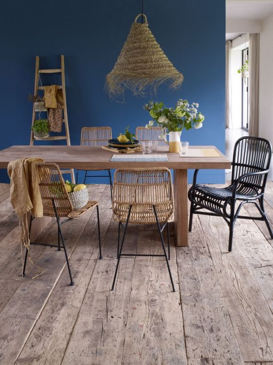 salle a manger decor bleu style scandicraft
