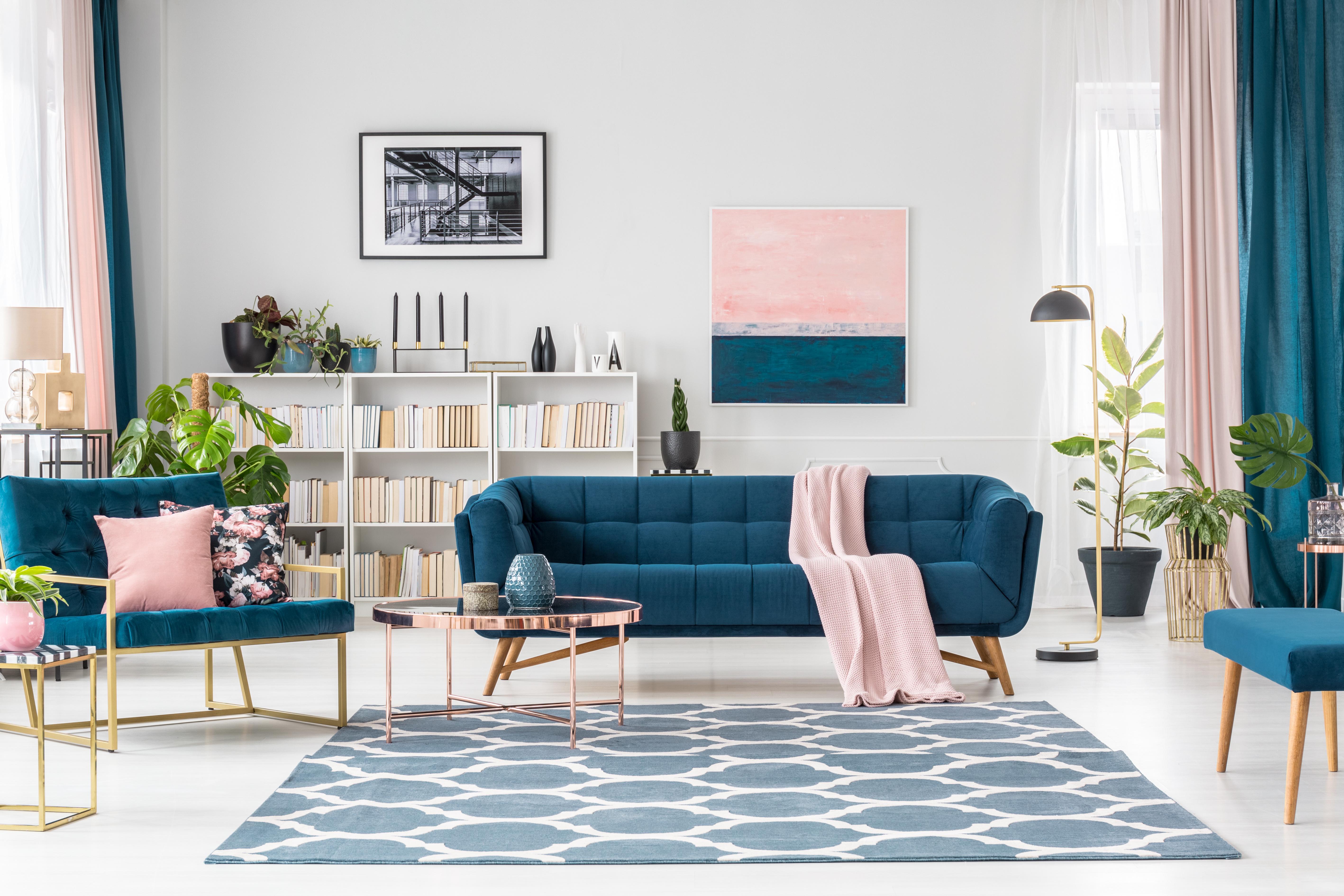 tapis bleu couleur froide