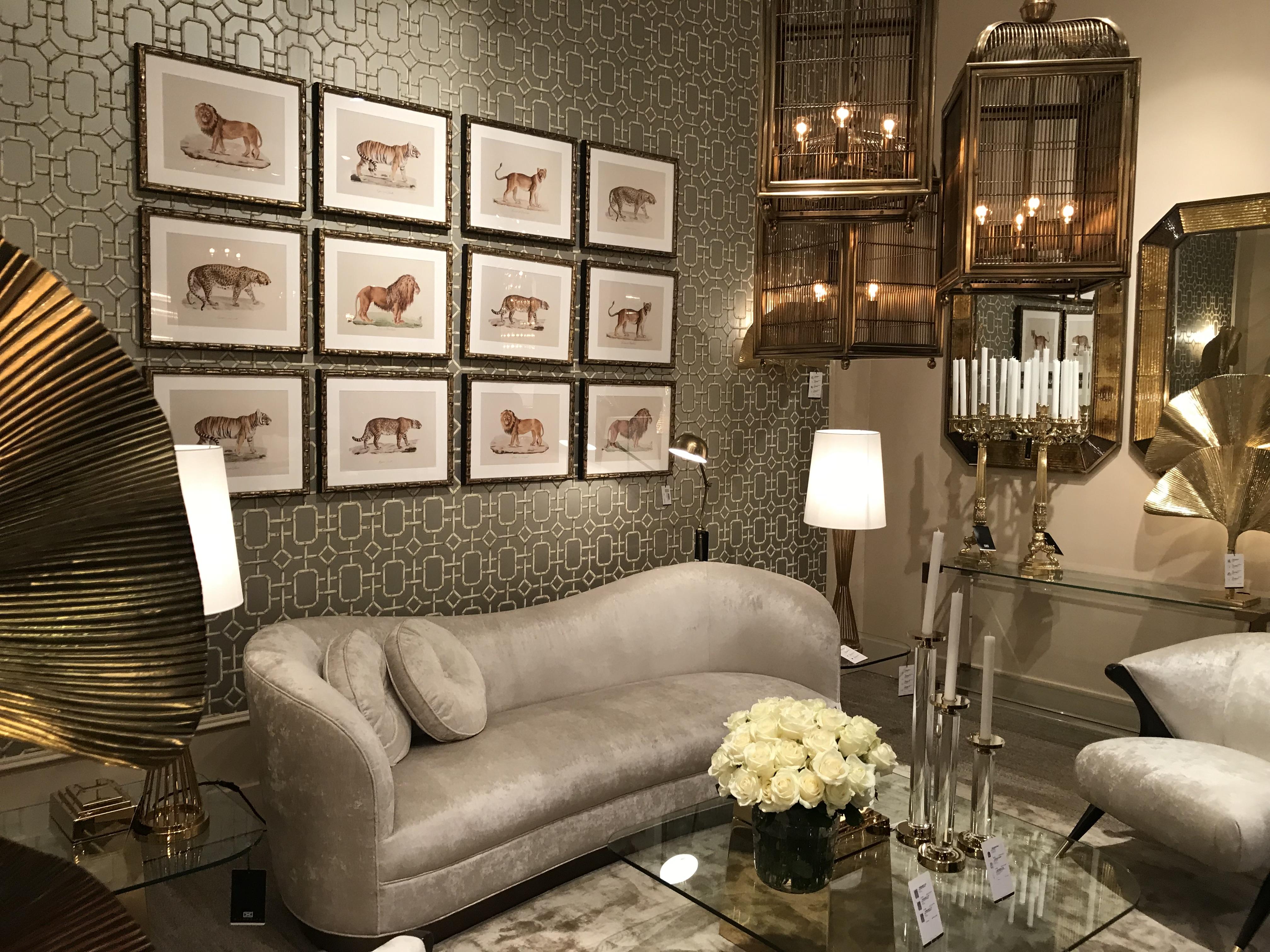 canapé velours beige dans un intérieur art deco