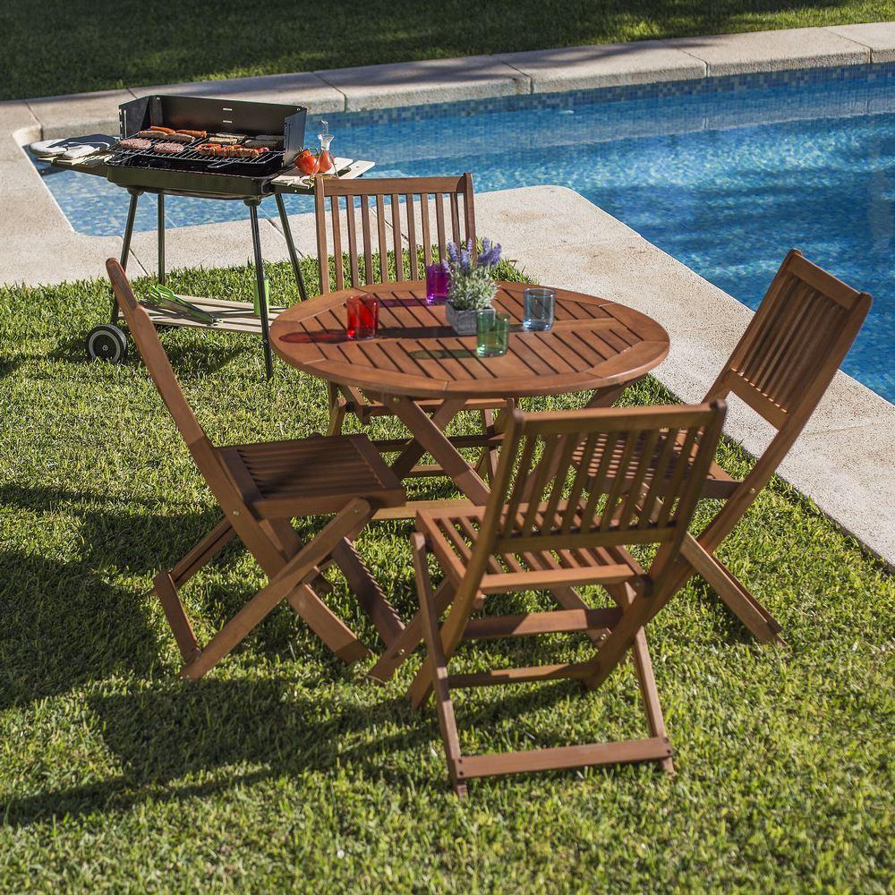 chaises et table de jardin pliables