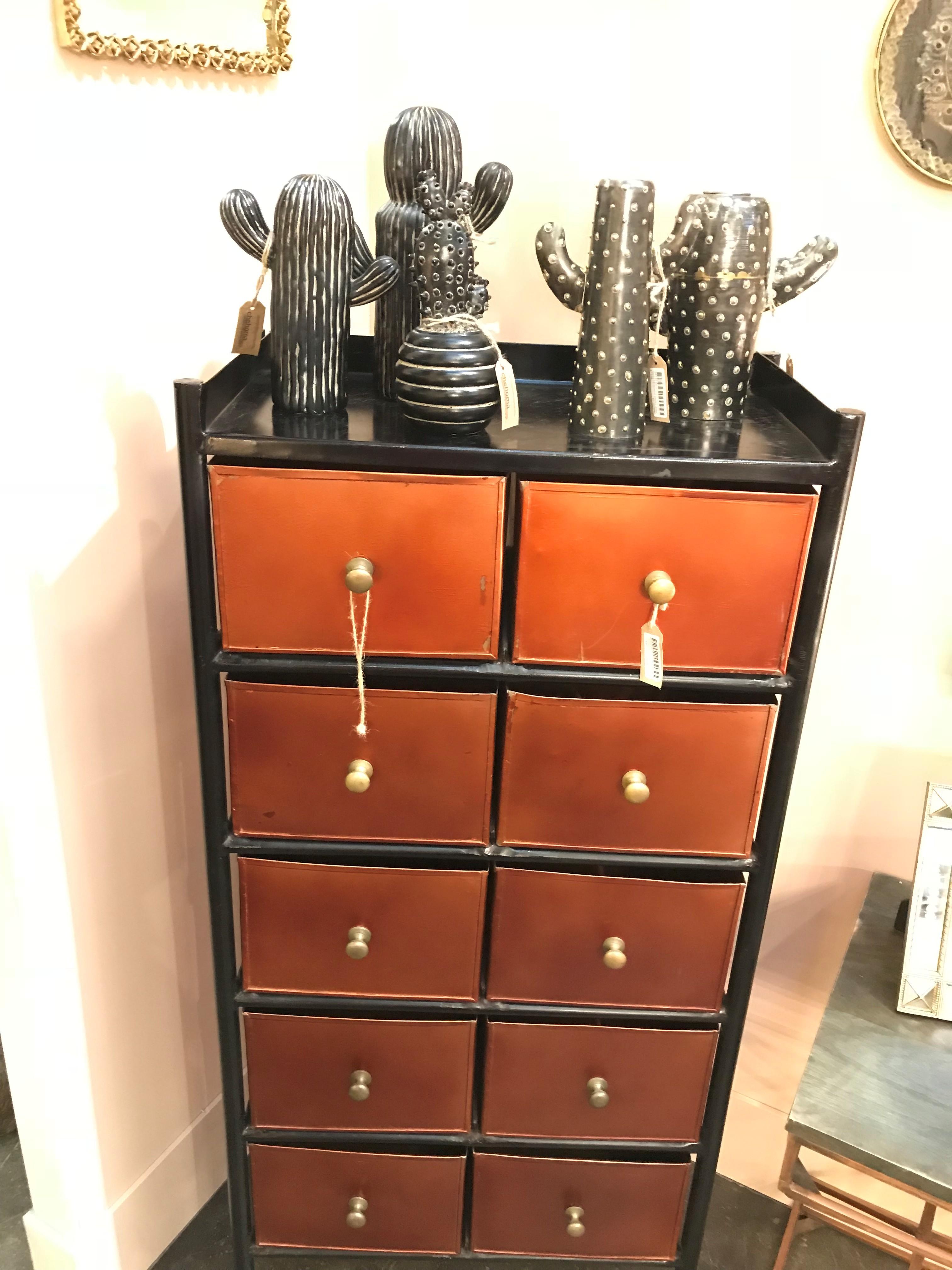 cactus en céramique sur petite commode en bois
