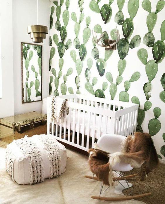 cactus papier peint dans la douceur dune chambre enfant