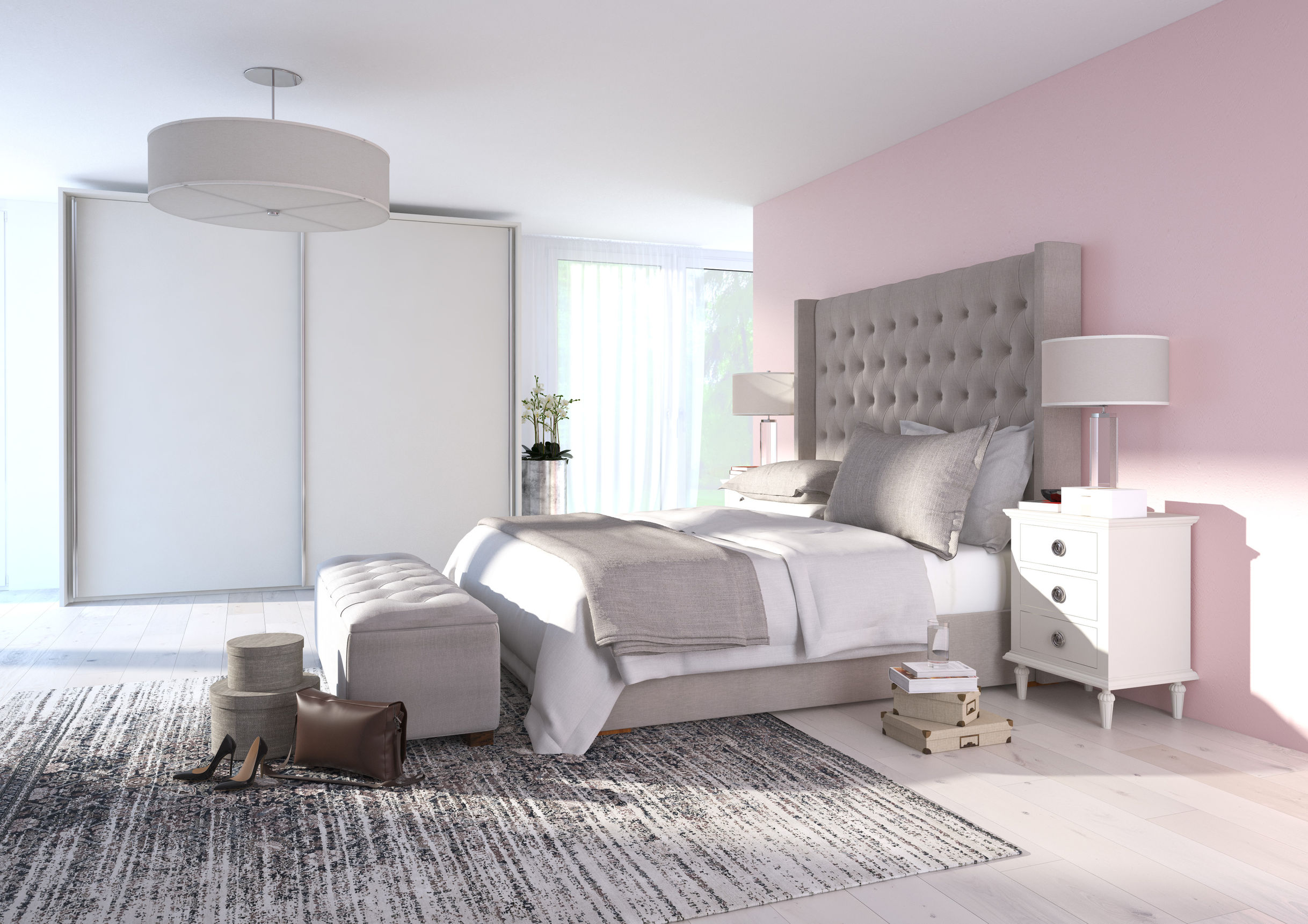 emejing chambre gris et rose poudre gallery design. Black Bedroom Furniture Sets. Home Design Ideas