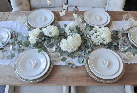 décoration de table en blanc