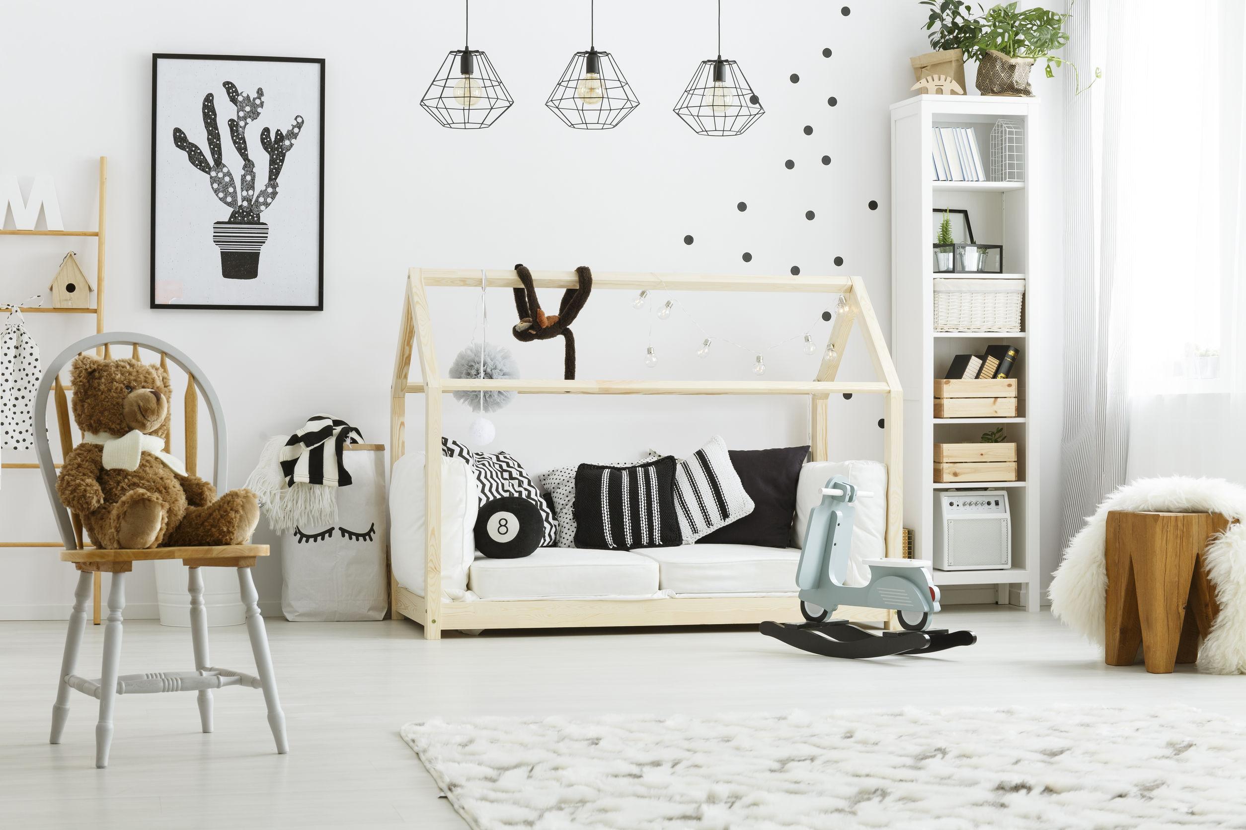 panier dans chambre enfant scandinave