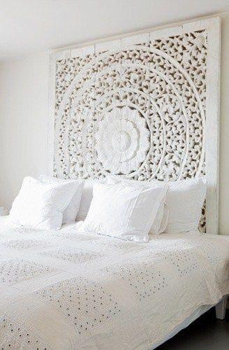 tete de lit cadre oriental blanc
