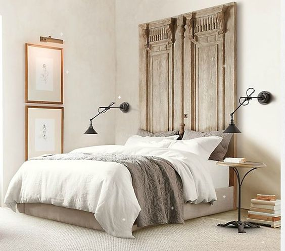 tableau pinterest t te de lit r alis e en objets de r cup le mag visiondeco. Black Bedroom Furniture Sets. Home Design Ideas