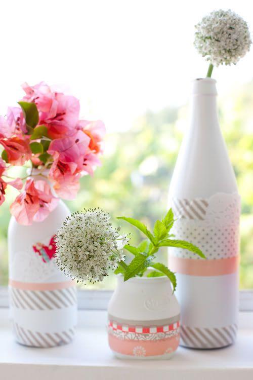 vases decores avec washi tape