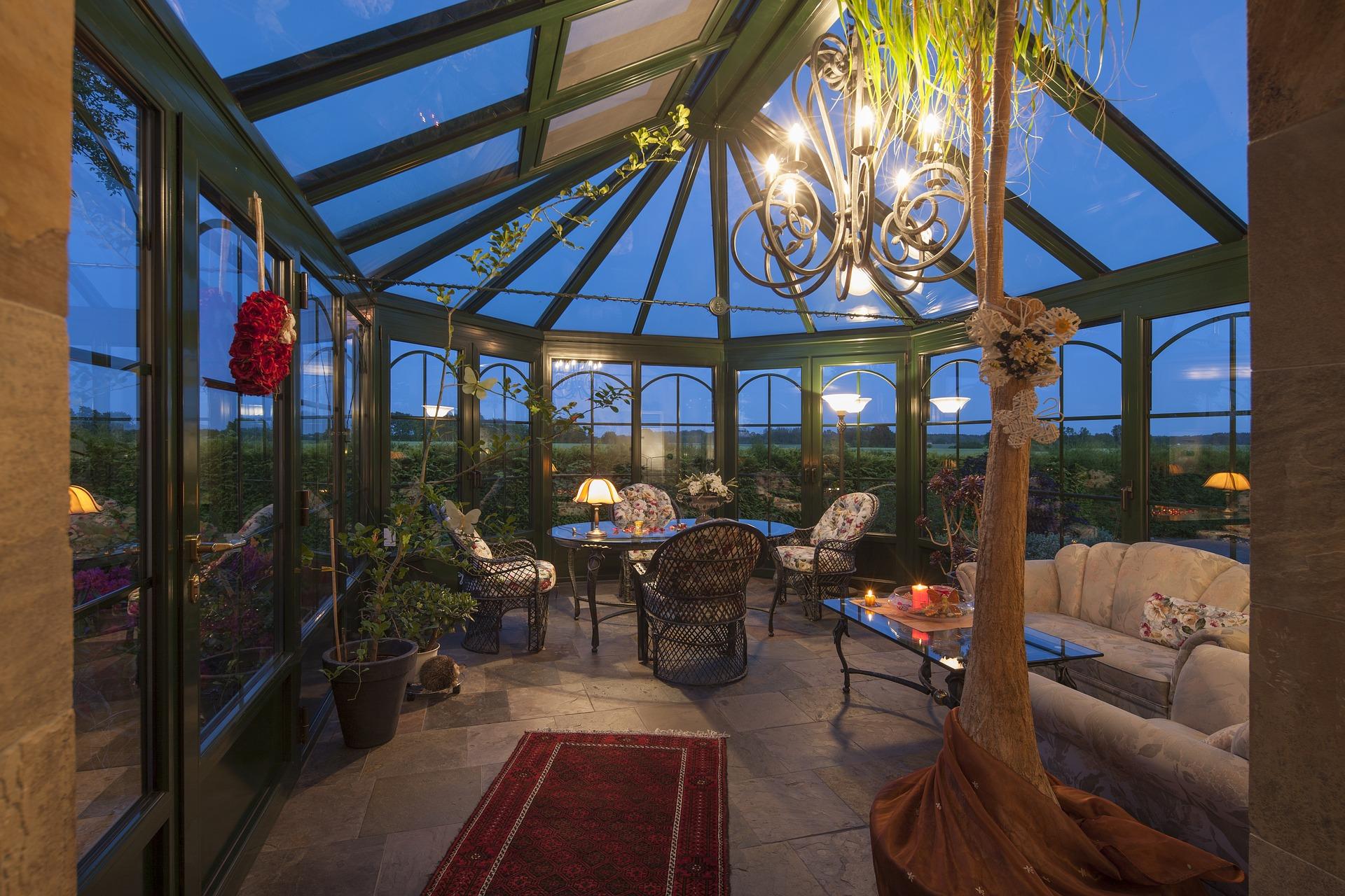 salon de jardin dans une veranda